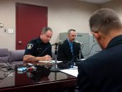 Brockville Police Service Const. Ryan Hayes and Const. Jeffrey Rean listen to the Police Service Act delegate Terence Kelly (not shown) on Friday, Oct. 21, 2016 during a Police Service Act hearing in Brockville, Ont. Rean is facing charges of discreditable conduct and neglect of duty. (Newswatch Group/Bill Kingston)
