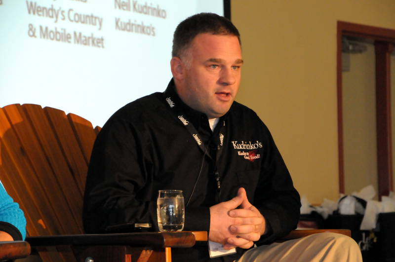 Neil Kudrinko, owner of Kudrinko's in Westport, makes a point during a panel discussion on the food industry Nov. 20, 2015 at the Leeds-Grenville Economic Development Summit. (Newswatch Group/Bill Kingston)