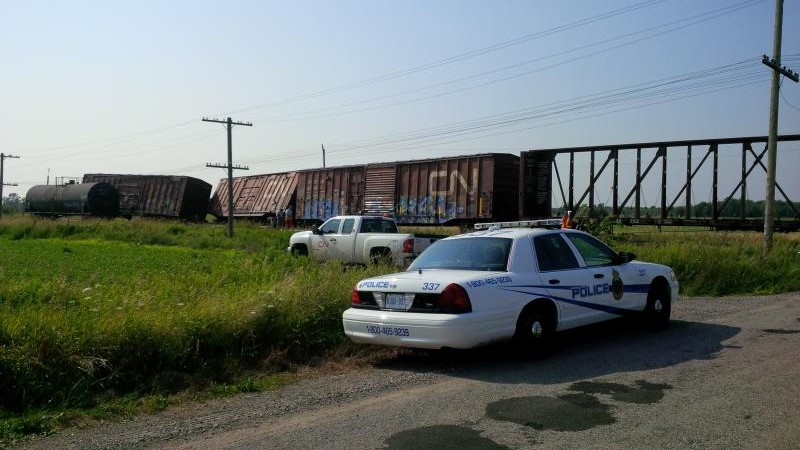 The Transportation Safety Board has concluded that problems with a wheel set were to blame for this freight train derailment on Aug. 1, 2014, east of Gananoque, Ont. (OPP via Newswatch Group)