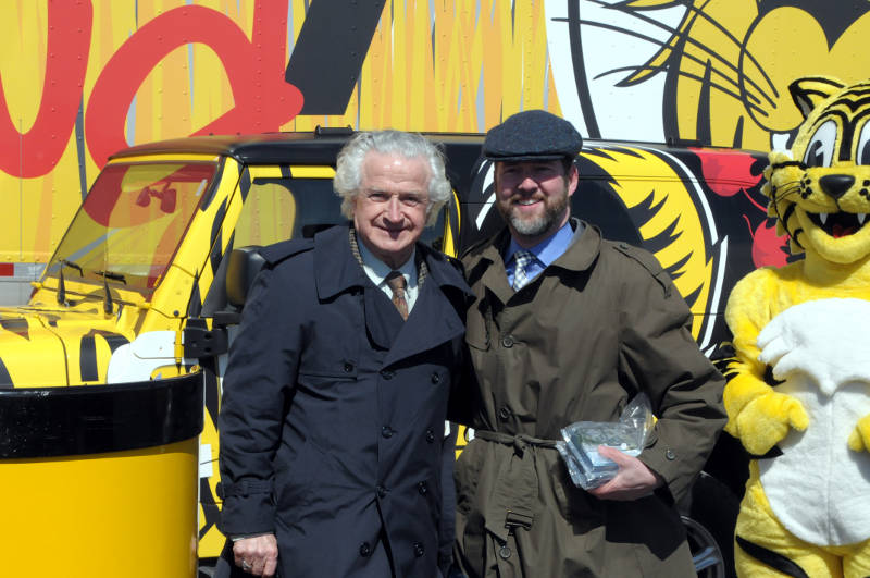 Edwardsburgh-Cardinal Mayor Pat Sayeau and Scott Reid, son of founder Gord Reid, pose with Friendly the Tiger Monday, April 4, 2016 during the company's groundbreaking at the Johnstown Industrial Park. The 550,000-600,000 square foot distribution center should be open in two years. (Newswatch Group/Bill Kingston)