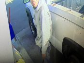 In this Monday, Sept. 26, 2016 photo provided by SD&G O.P.P., a man suspected of stealing a pickup truck in Morrisburg, Ont. is caught on security cameras at a nearby gas station. The man is also accused of driving away Saturday, Sept. 24, 2016 without paying. (SD&G O.P.P. via Newswatch Group)