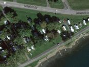 The Arlor Haven campground, seen in this Google Maps satellite image, would likely be successful in a court challenge over six trailer lots at the east end of the park. South Dundas has been looking at having the lots cleared because neighbours complained the trailers block their view of the river. (Google Maps via Newswatch Group)